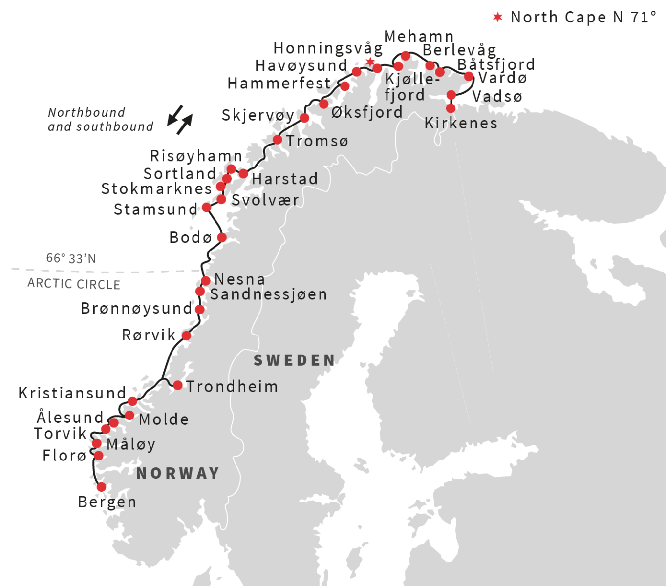 Hurtigruten 12 day voyage from Bergen via Kirkenes to Bergen