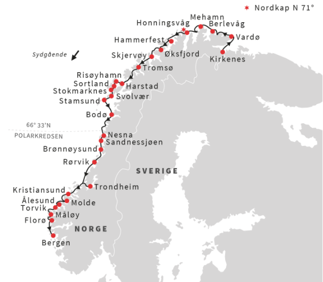 Kirkenes to Bergen on a 6 day voyage with Hurtigruten - Ruby Rejser